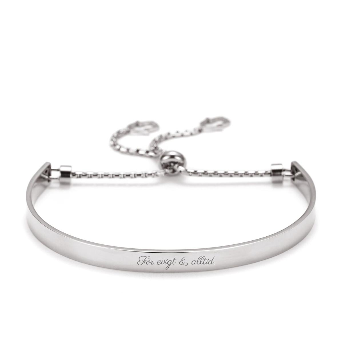 Balance ? elegant armband med gravyr - silver, skrift