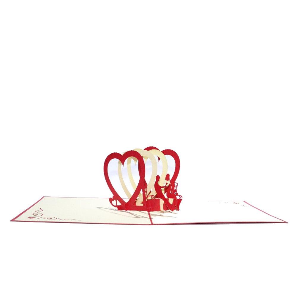 Gratulationskort med hjärtan i 3D