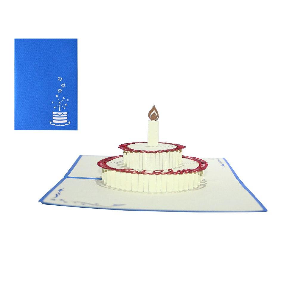 Gratulationskort med tårta i 3D