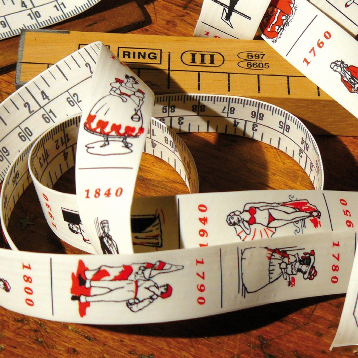 Måttband med Modehistoria