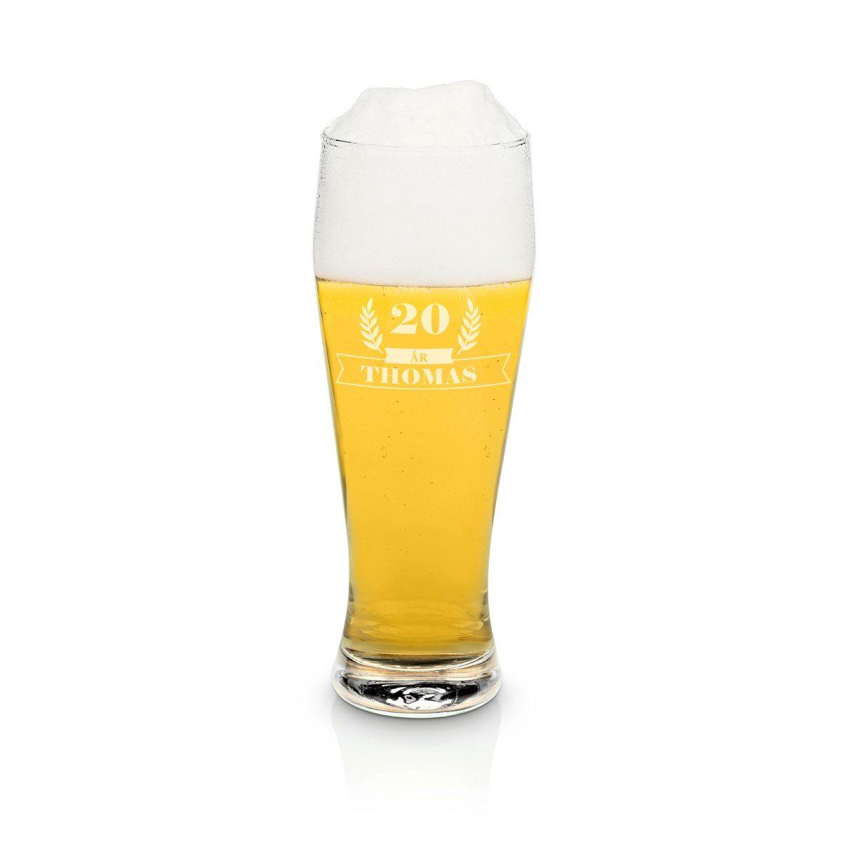 Ölglas med gravyr