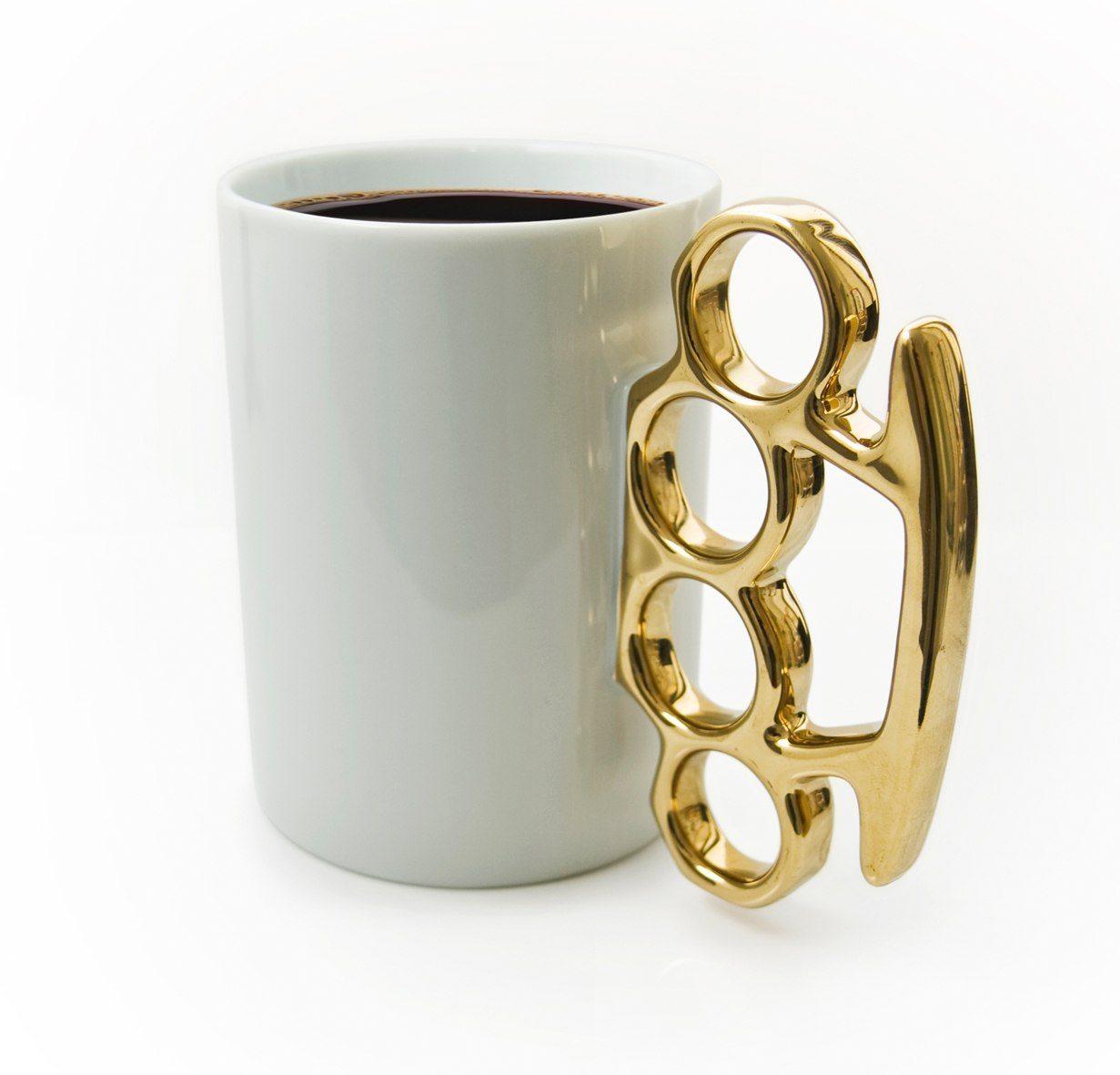 Schlagring Kaffeebecher weiß/gold