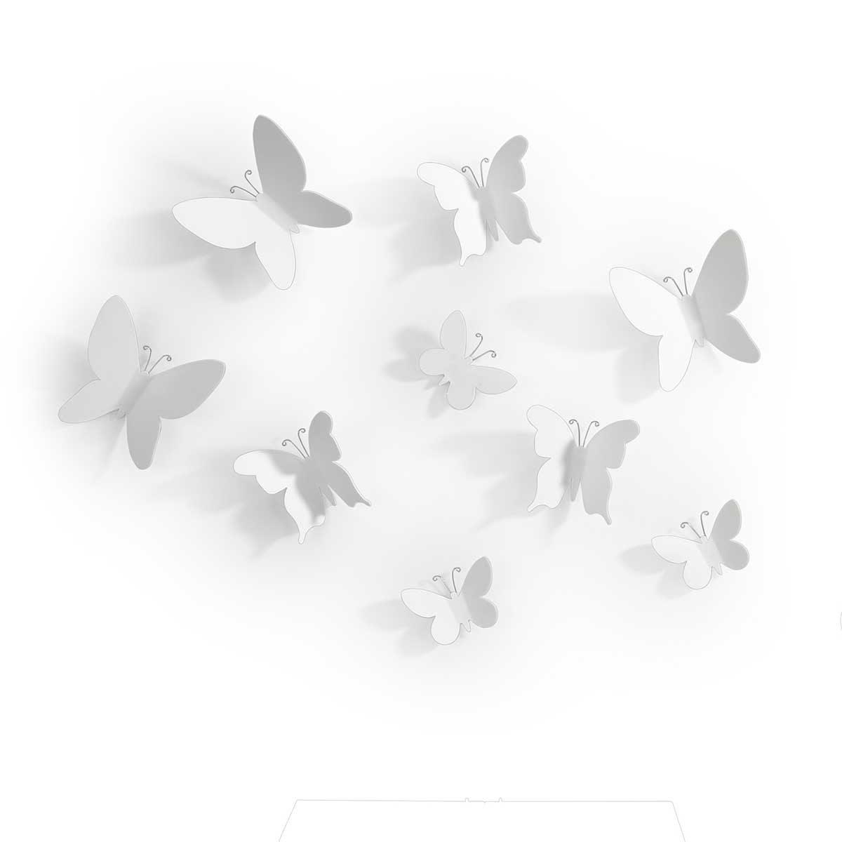 Väggdekoration Vita fjärilar