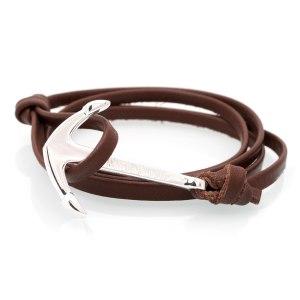 Äkta läderarmband (brunt) med guldigt ankare