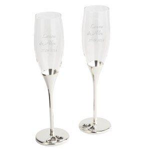 Champagneglas med kristaller och gravyr