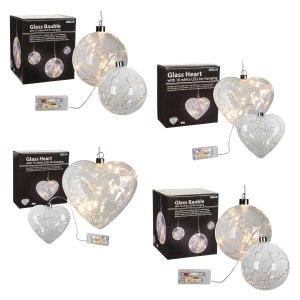 glass balls & hearts including LED lights