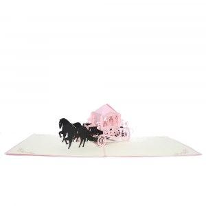 Gratulationskort med hästvagn i 3D