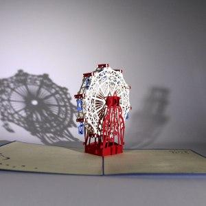 Gratulationskort med Pariserhjul i 3D