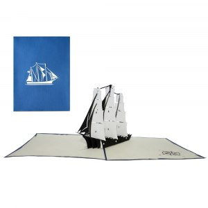 Gratulationskort med segelbåt i 3D