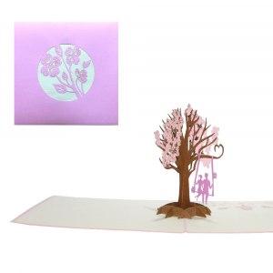 Gratulationskort med trädgunga i 3D