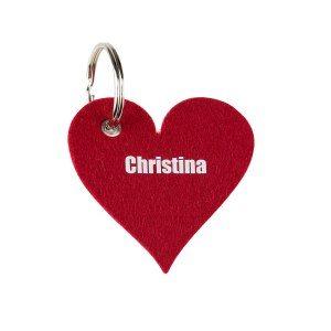 Hjärtformad nycklering i filt med namn