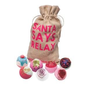 Julsäck fylld med badbomber