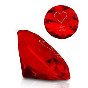 Kristall-Diamant mit Swarovski-Herz & Gravur