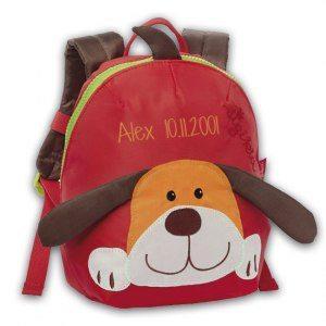 """Mini-barnryggsäck """"hund"""" med namn"""