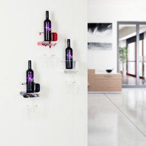 Modernt vinställ för flaskor och glas