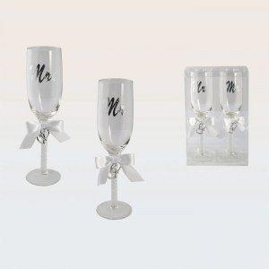 Mr och Mrs - Champagneglas för bröllopet