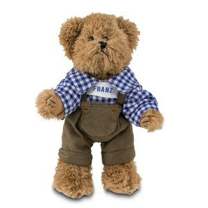 Oktoberfest-björn som bär hängselbyxor med namn