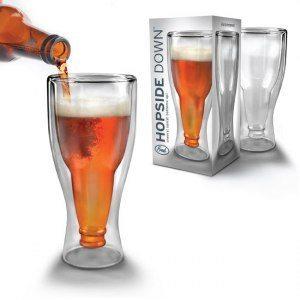Ölglas med invändig flaska