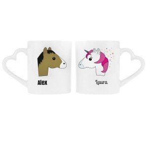 """Partnerkopp-set """"Häst och enhörning"""" med namntryck"""