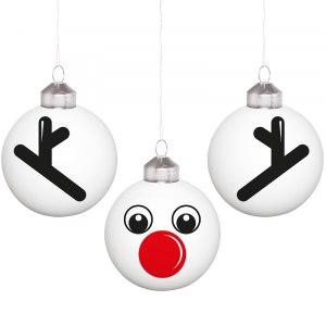"""Små julgranskulor """"renen Rudolf"""""""