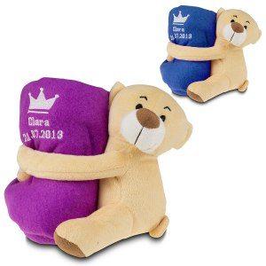 Teddybjörn med namnfilt: gåva till födseln