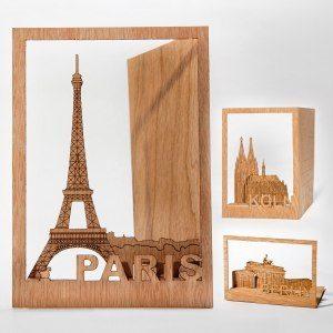 Träkort med städer