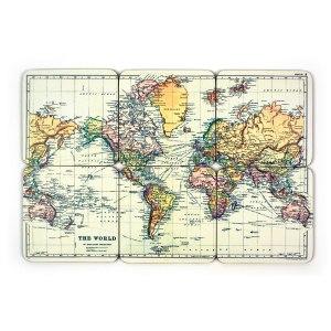 Underlägg Världskarta- 6st