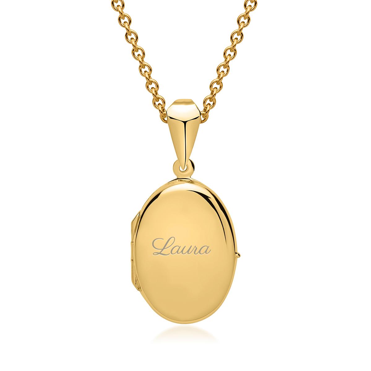 Oval medaljong med gravyr - guld