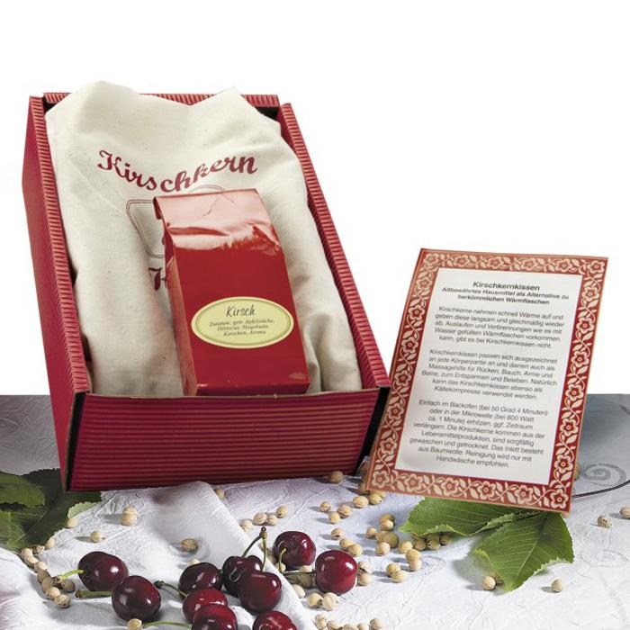 Presentförpackning med lindrande värmekudde och körsbärsté