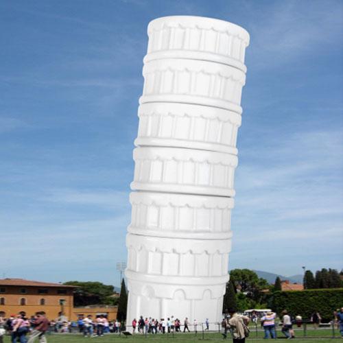 Espressokoppar lutande tornet i Pisa